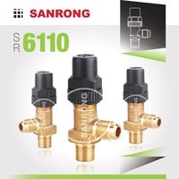 Sanrong 6110 Brass Manual Shut-off Receiver Valve, Air Conditioning Angle Shut off Valve, Castel Valve for Refrigeration Systems