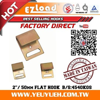 "[EZ LOAD] 2"" Inch 50mm Stamping Metal Flat Plate Hook for Webbing"