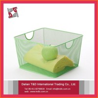 small green mesh box wire cage metal bin storage container