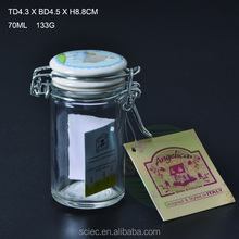 Wholesale Mini 100ml Square glass spice jar with clamp lid/glass salt and pepper shakers