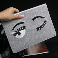 Hot Selling For iPad Air 2 Case Glitter Eye Bling Fashion Flip Smart Leather Cover Case for iPad Air2 For Tablet
