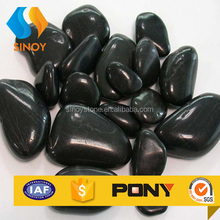High black polished pebbles