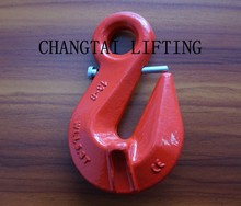 G80 load binder eye self-locking hook,forged lifting eye safety hook for chain