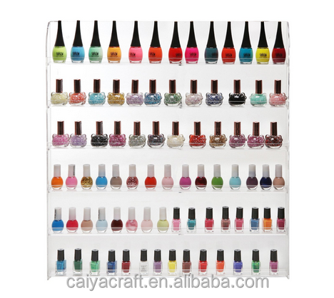 90 bottles 6 shelf clear acrylic wall mounted nail polish <strong>display</strong>