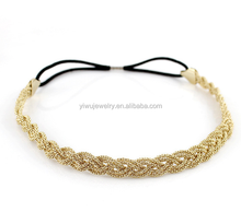 H53-043 new elastic soft gold knit braided corn chain <strong>headband</strong>