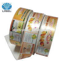 Roll packed juice bottle sticker label self adhesive sticker label for plastic juice bottles made in China Dongguan