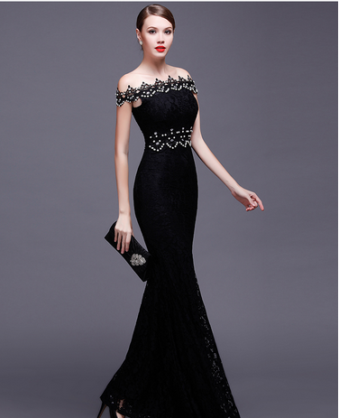 2016 summer fashion boat neck beaded patterns of lace fishtail evening dress