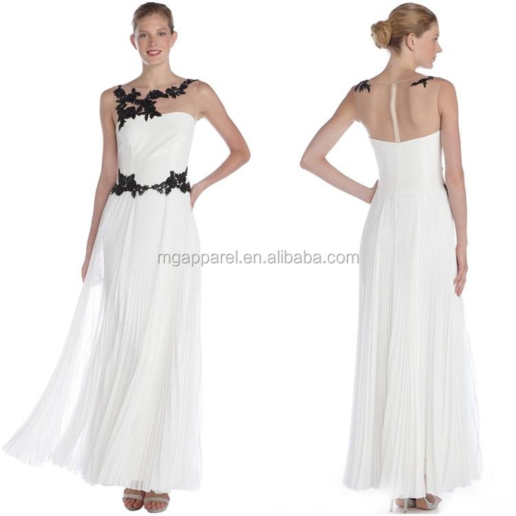 OEM wholesale white stylish crepe sleeveless embroidered turkish evening dress 2015