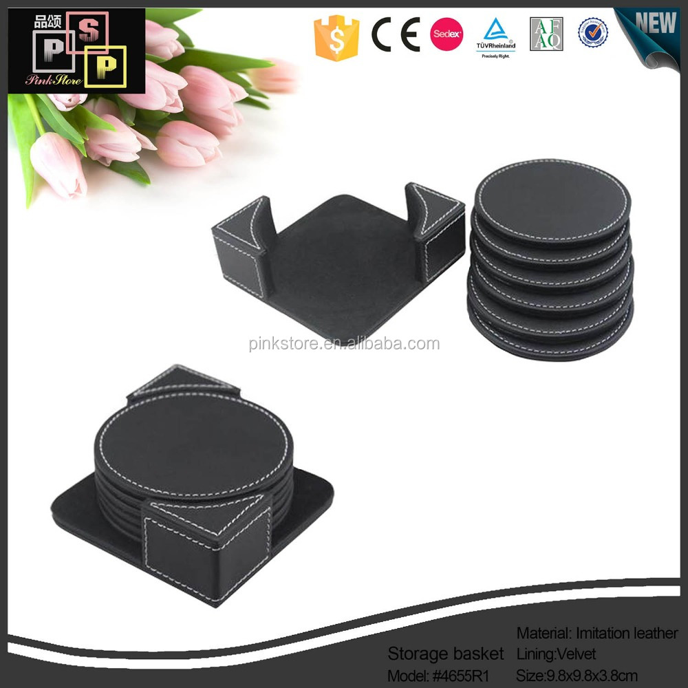 Household Cube Cheap Black leather square coaster packaging