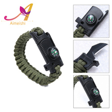 Wholesale Custom Laser Logo Outdoor Camping 5 in 1 Multifunction Paracord Survival Bracelet