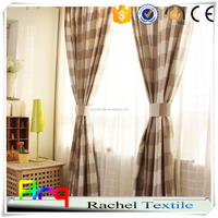 Printed French style Linen cotton blend fabric square pattern light living room for curtain, table cloth