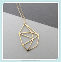 2015 New arrival fashion design gold stainless steel geometric necklace