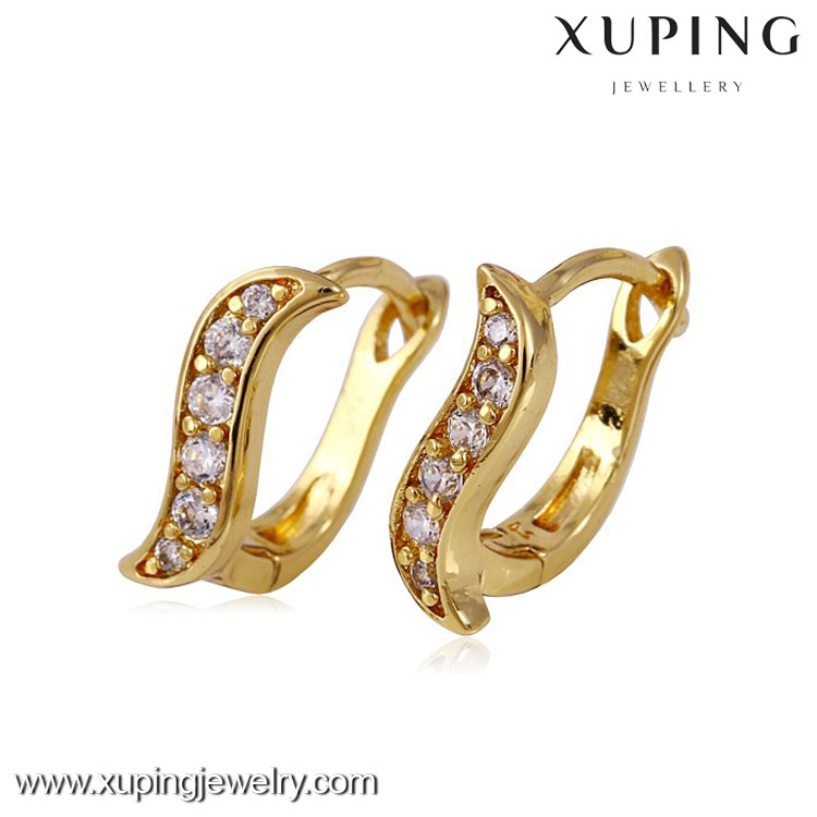 24188 xuping latest cute girls earrings , 14k gold color ring type earrings, women earrings