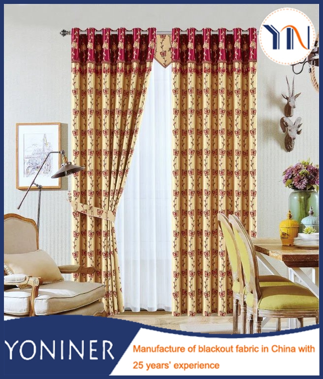 types of design jacquard blackout curtain fabric