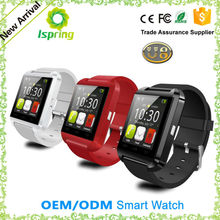 android 4.3 black red smart phone watch u8 with phone call altimeter sms for mobile phone