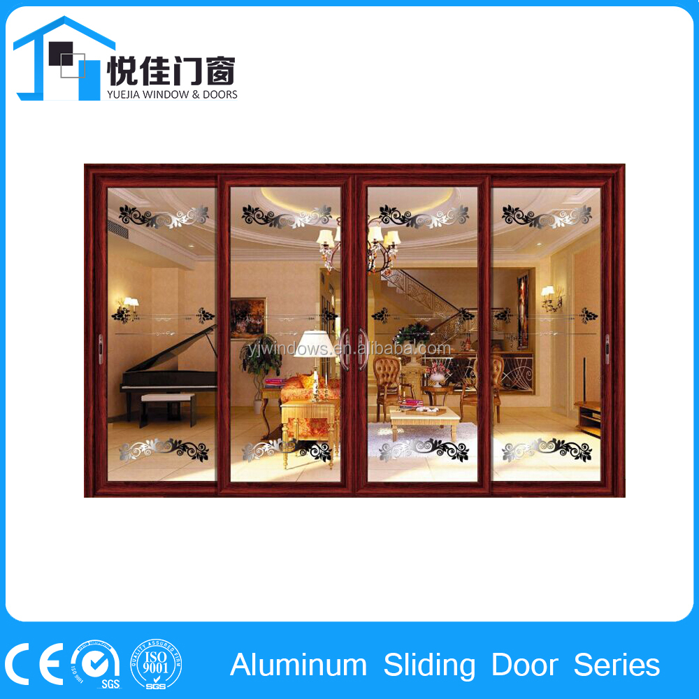 Wooden color Aluminum profile sliding door with burglar proof for home