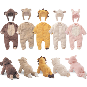 Winter cute baby costume animal pattern warm coral fleece outfit newborn baby clothing