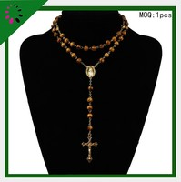 Whlesale 2015 Christain sanders cross pendants wooden rosary