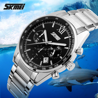 2016 skmei 9096 wristwatch for business men stainless steel band