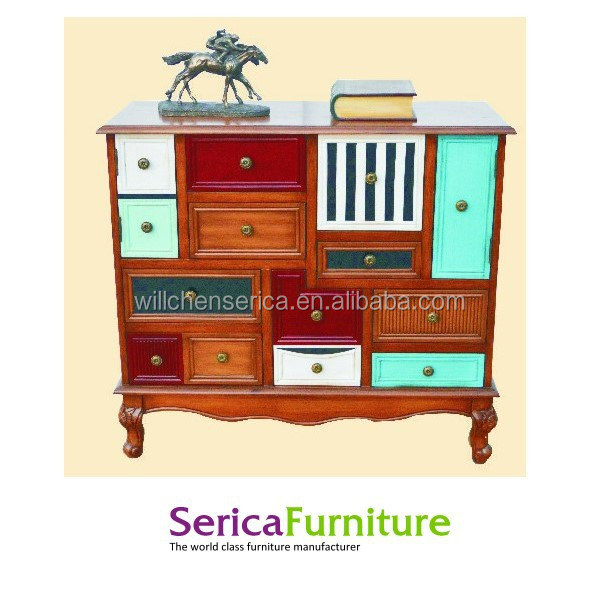 34387-9251 Country style wooden cabinet with 14 drawers
