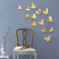 2019 Manufacture Price DIY Home Wall Decoration Sticker Butterfly Wall Stickers Metallic Feel 3D Butterfly Wall Sticker