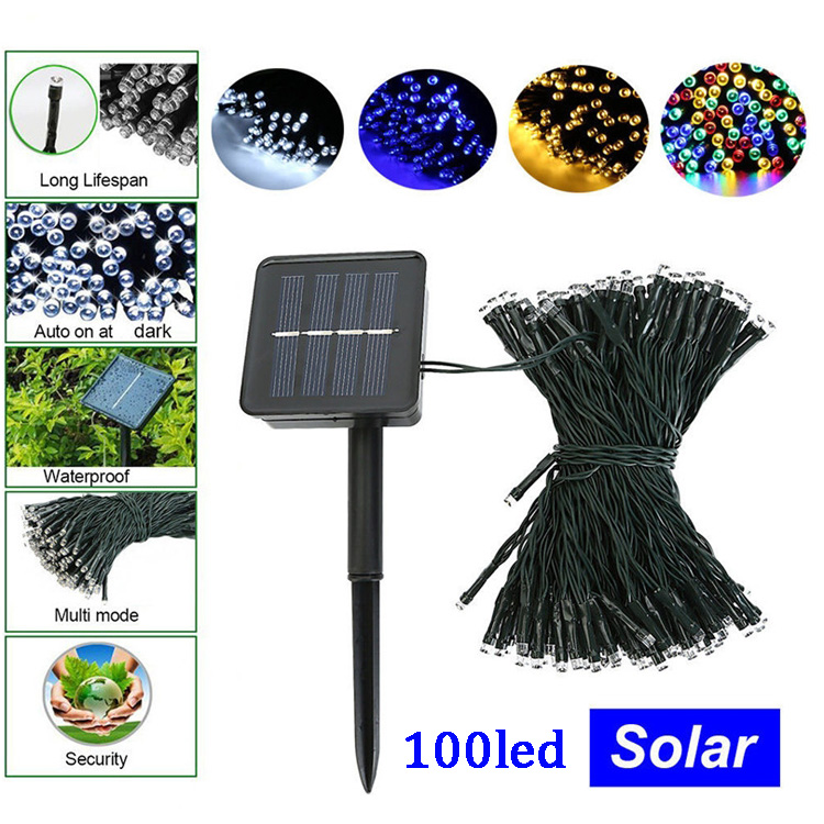 100 leds 12M Wedding Party Festival Christmas Decoration light solar led christmas lights solar powered outdoor string lights