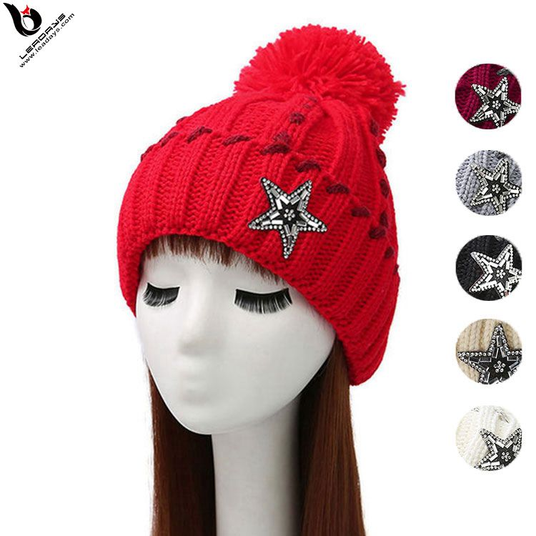Pretty Wool Glass Stones Star Winter Knitted Woman Sex Beanie Hat