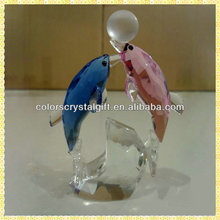 Handmade Coupled Crystal Glass Dolphin Figurine For Children Birthday Party Gifts