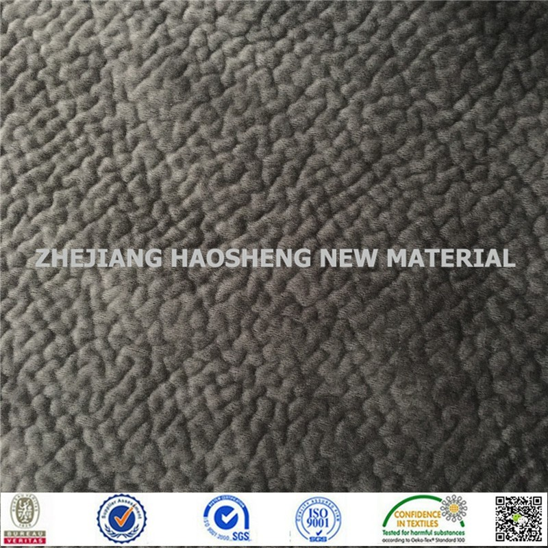 100% Polyester Knitted Bonded Fabric Brushed Embossing Sofa Fabric