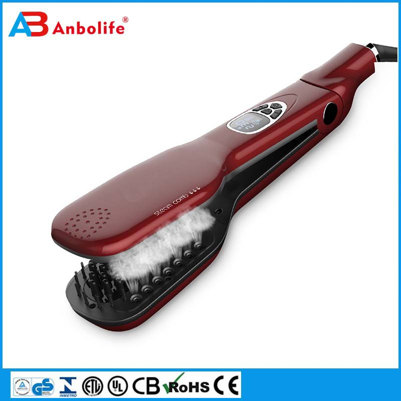 Fashion mini wireless electric ceramic hair fast battery powered straightener brush steam hair straighter