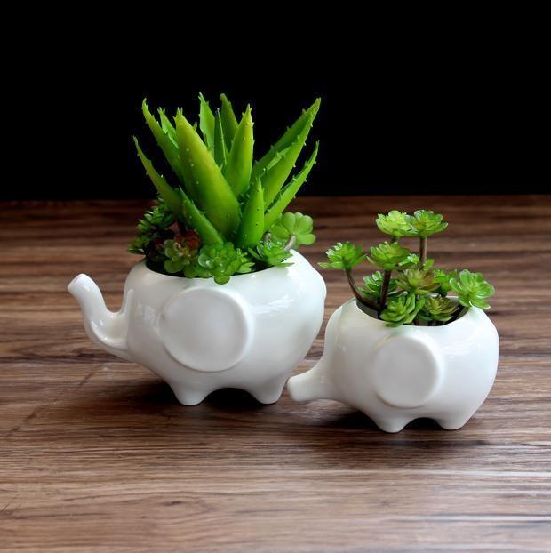 Small White Plant Pots Part - 31: Indoor Decor Ceramic Flower Pots Small White Animal Bonsai