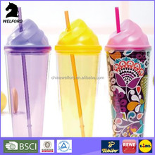 BSCI Audit drinking Bottle OEM design 2 in 1 smoothie cup with straw