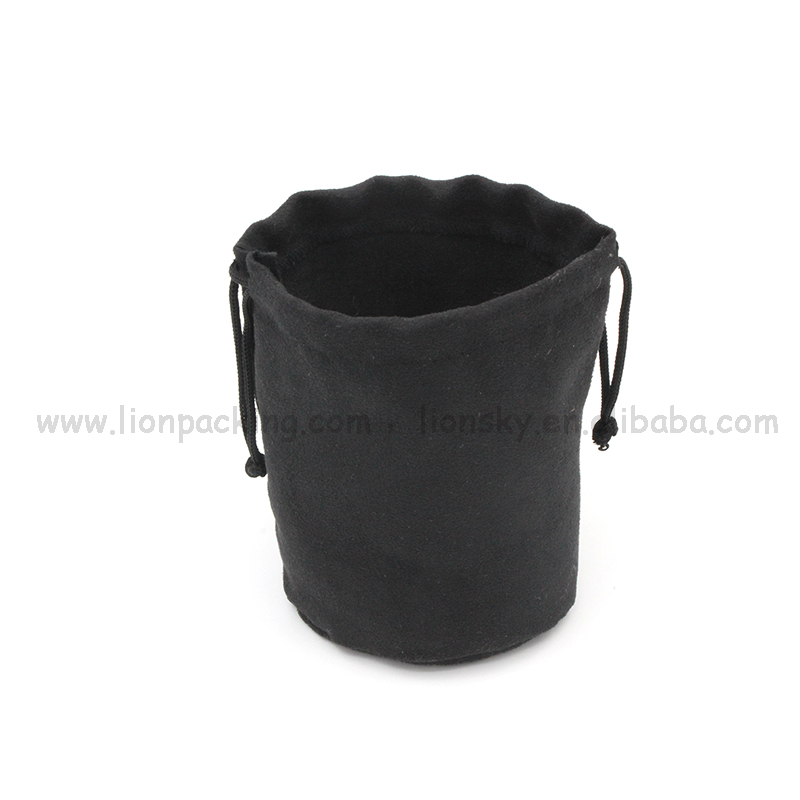 Hot slae round bottom suede drawstring bag for storage