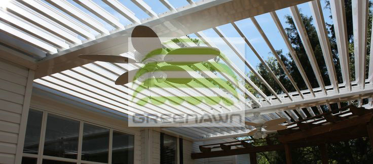 durable pergola tent attached to the building rooftop patio