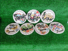 Cement round pedal embossed animals and words for garden decoration