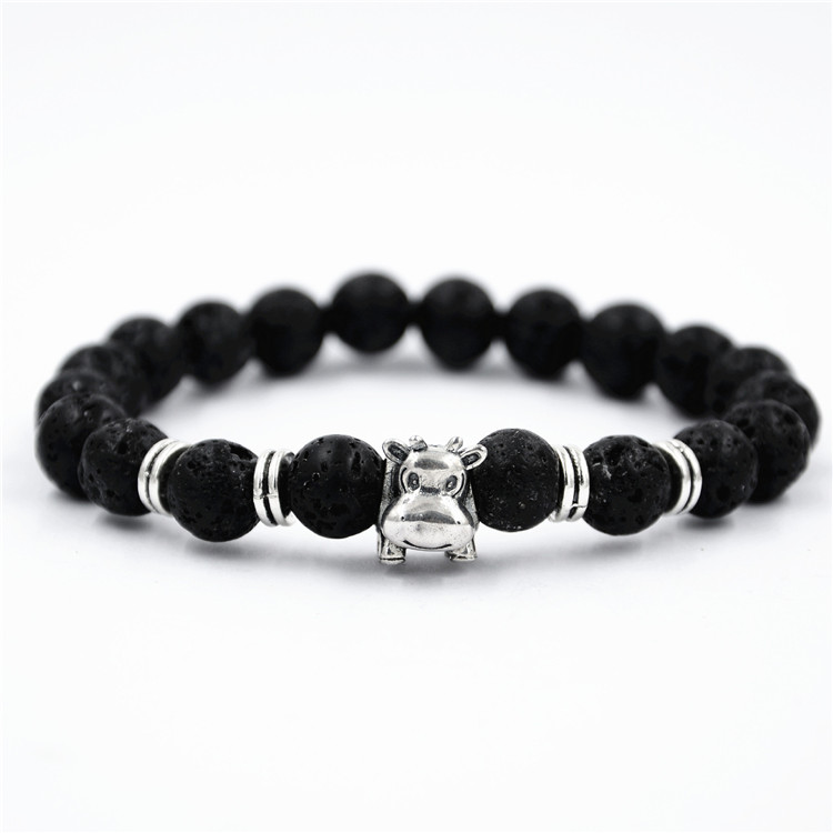 Wholesale Hot new fashion jewelry High Quality Black Lava Rock Beads alloy pendant elephant Charms bracelet