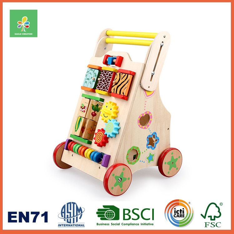 Wooden Baby Walker with Shape Sorter Toy and Blocks
