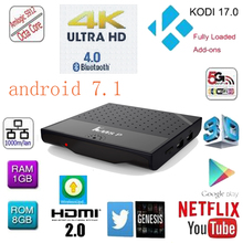 The newest 2017 best smart tv box andriod 7.1 2gb ram 16gb rom cable tv set top box km8p android tv box