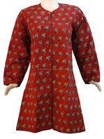 Jaipuri Hand block Printed Cotton Long Women's Coats /Kantha Jacket