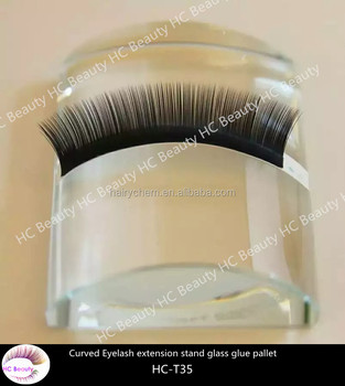 Customized logo design background Durable U Curved Tile Eyelash extension stand Glass Glue Pallet