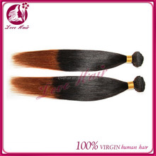 Hot sell!!! 2015 new fashion! virgin human hair two tone 1b/bug peruvian hair weft 8-26inch in stock