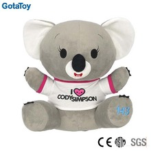 Custom made stuffed animal plush koala soft toy with shirt