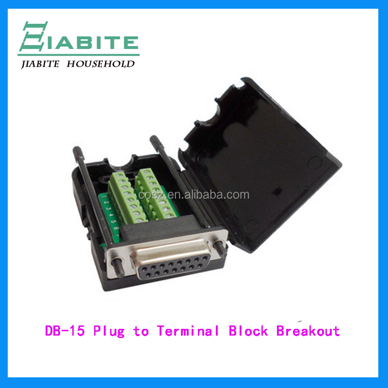 DB-15 Male Plug to Terminal Block Breakout with plastic cover