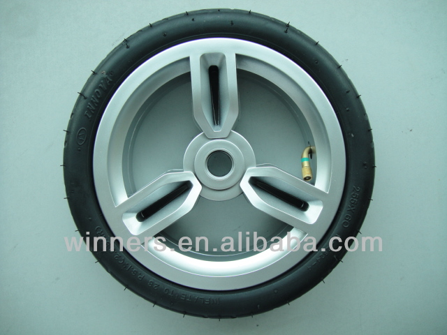 10X1.75/255x60 pneumatic/rubber push golf cart wheel with PP rim
