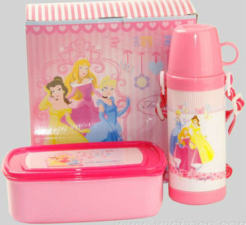 Pink water bottle and lunch box set kids gift set