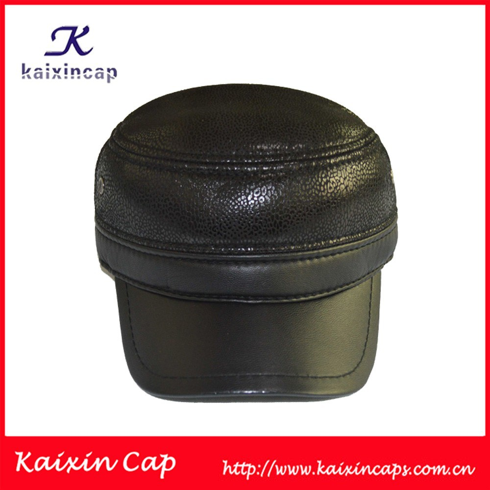Wholesales High Quality Leather Military Cadet Cap Army Hats