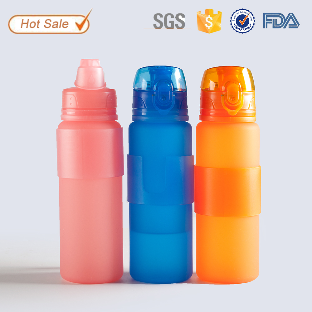 FDA approved plastic PP sport silicone foldable bottle for energy supply