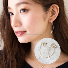 Japan Hoting 14K Gold Arc Line Swaying Temperament Long Clip Earrings No ear hole