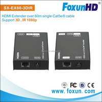 HD Receiver 60m extender over single Cat6/Cat.5e HDMI Extender with IR support 1080p
