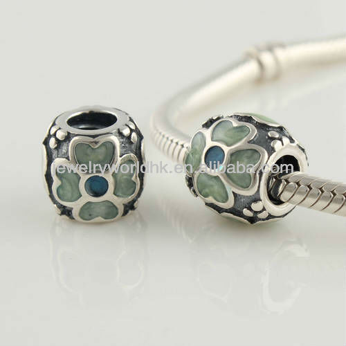 925 sterling silver good luck four leaf green clover charm bead